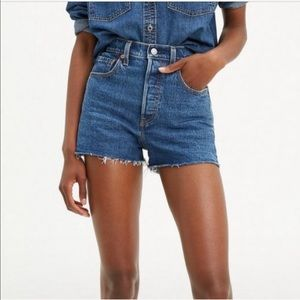 Levi's 505 High-Rise Raw Hem Jeans Shorts - 32